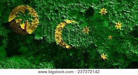 Cocos, Keeling Islands Grunge Flag, Australia Dependent Territory Flag