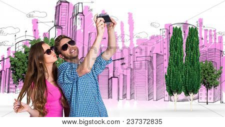 Digital composite of Digital composite image of couple taking selfie with buildings and trees in background