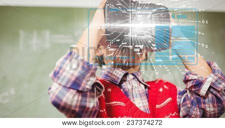 Digital composite of Digital composite image of tech graphs with man using VR glasses in background