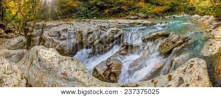 Waterfall On The Hosta River In The Navalishchensky Canyon. Sochi National Park, Russia.