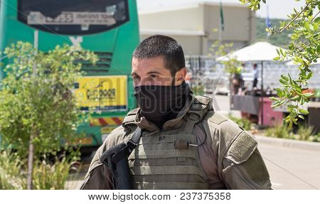 Beit Shemesh, Israel - April 19, 2018: The Man Of Israel Police Special Unit