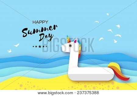 Giant Inflatable Fantasy Unisorn In Paper Cut Style. Origami Pool Float Toy On The Sunny Beach With