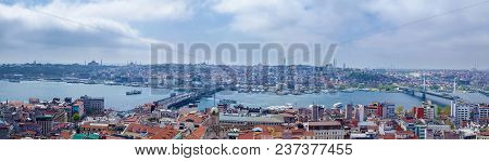 Aerial View Of Fatih Historic District And Galata Bridge Over Golden Horn Bay. Old City Cityscape, S