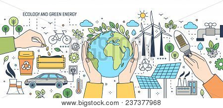 Banner With Hands Holding Globe, Light Bulb And Seeds Surrounded By Wind And Solar Power Stations, E