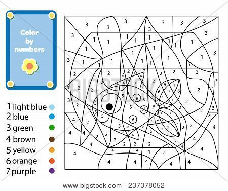 Children Educational Game. Coloring Page With Fish In Bowl. Color By Numbers, Printable Activity, Wo