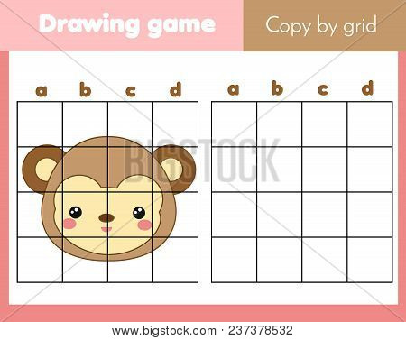 Grid Copy Game, Complete The Picture Educational Children Game. Printable Kids Activity Sheet With M
