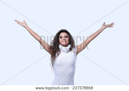 Happy girl with arms outstretched white background