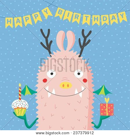 Hand Drawn Birthday Card With Cute Funny Monster Holding Present Cupcake A Candle