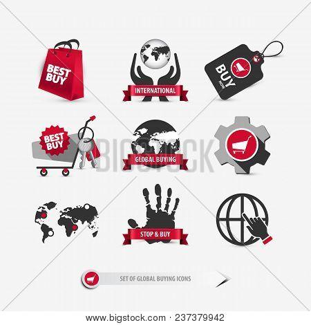 Set Of Global Buying Icons Containing: International Shopping Symbols, Ideas About Consumerism, Mobi