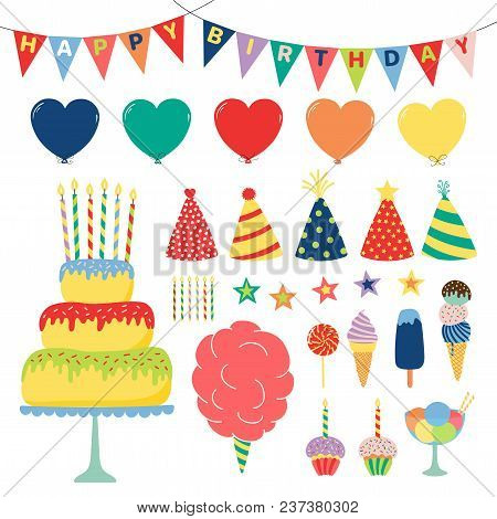 Collection Of Hand Drawn Birthday Party Design Elements With Cake, Balloons, Hats, Bunting, Ice Crea