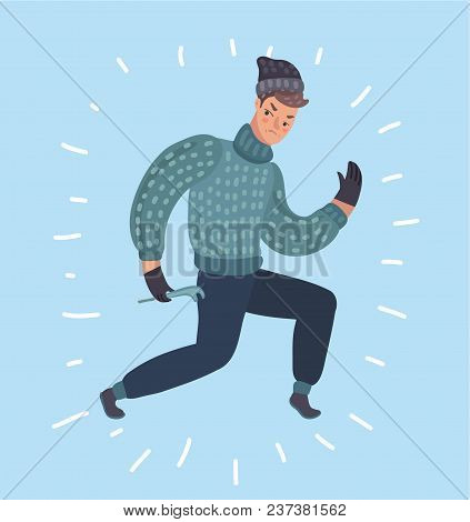 Vector Cartoon Illustration Of Burglar Character. Criminal, Thief Or Robber Standing And Crouching M