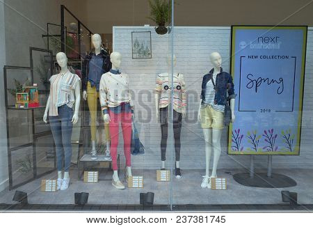Bracknell, England - April 23, 2018: Window Display Of Spring Fashion Clothing For Women In The Next