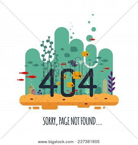404 Error Page Not Found Concept With Undersea World Isolated On White Background. The Angler Fish S