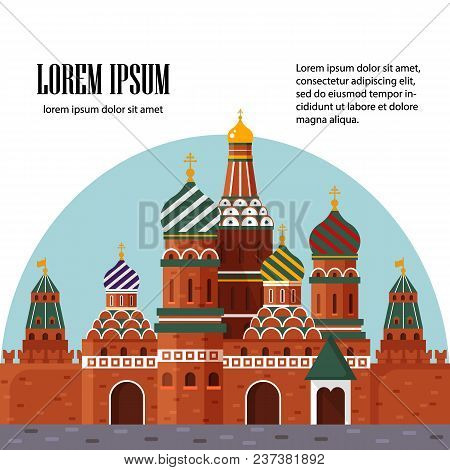 Welcome To Russia. St. Basil S Cathedral On Red Square. Kremlin Palace, Vector Stock Flat Illustrati