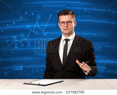 Stock data analyst in studio giving adivce on blue chart background concept on background