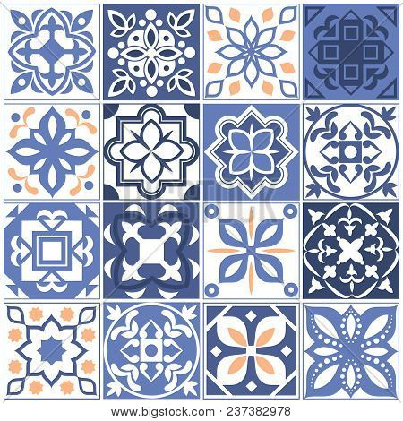 House Mexican Tiling Seamless Patterns. Spain Tales With Floral Texture. Vector Seamless Mosaic Patt