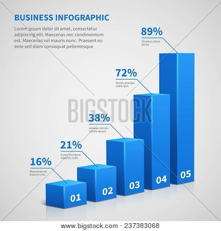 Statistics Business 3d Graph Bar Chart. Vector Infographic With Steps And Options. Chart And Graph,