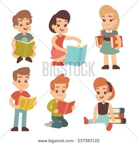 Kindergarten Children Read Book Studying English Vector Cartoon Characters Set. Illustration Of Kind