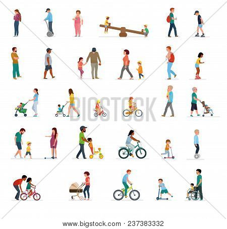 Crowd Of People Performing Summer Outdoor Activities - Walk, Riding Bicycle, Skateboarding. Group Of