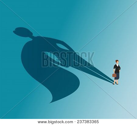 Executive Woman With Superhero Shadow. Strong Businesswoman And Business Victory Vector Concept. Wom