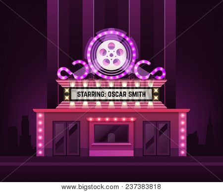 Cinema Theatre Building Exterior. Movie Entrance With Retro Light Marquee Banner Vector Illustration