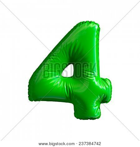 Number 4 (four) of green balloons on a white background. 3d rendering