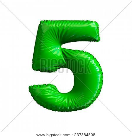 Number 5 (five) of green balloons on a white background. 3d rendering