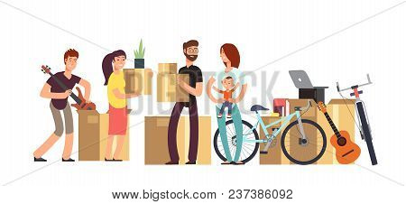 Couple And Kids Holding Cardboard Box With Household Stuff. Moving Day Vector Concept. Illustration