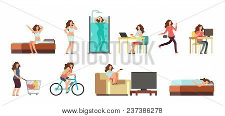 Smiling Happy Woman In Everyday Life. Active Girl Normal Daily Routine Vector Cartoon Lifestyle Char