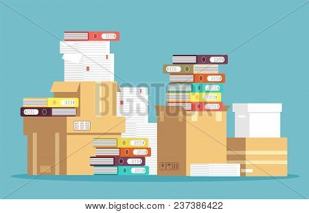 Pile Of Cardboard Boxes, Paper Documents And Office File Folders Isolated. Unorganized Messy Papers,