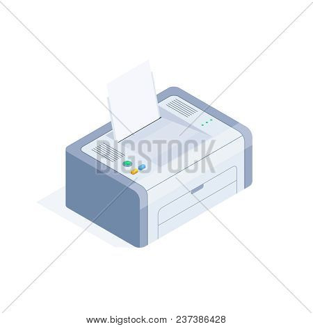 Isometric Printer Isolated On White Background. 3d Laser Printer. Icon Of Office Equipment. Vector I