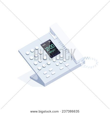 Isometric Landline Phone Isolated On White Background. 3d Phone. Icon Of Office Equipment. Vector Il