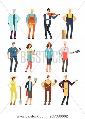 Man And Woman Workers With Tools In Uniform. Cartoon Vector Characters Of Different Professions Isol