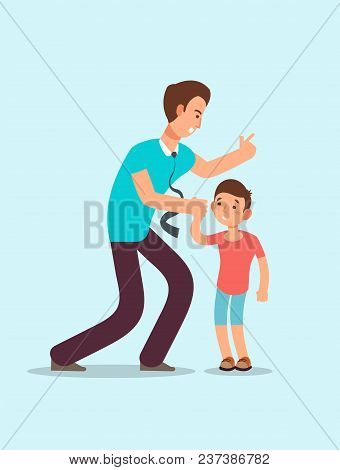 Angry Father Yells At Upset Scared Child. Family Conflict Between Children And Parents Vector Concep