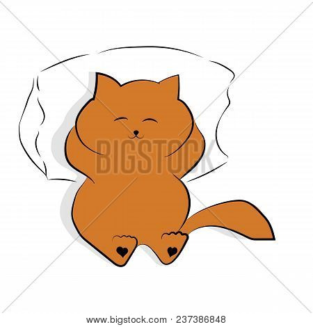 Vector Light Brown Drawing Cute Fat Cat Lying On The Pillow. Satisfied Fat Cat With A Shadow