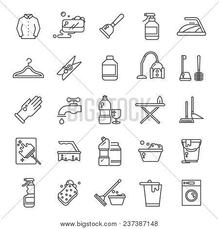 Cleaning And Washing House, Laundry Outline Vector Icons. Antiseptic Service Line Symbols. Illustrat