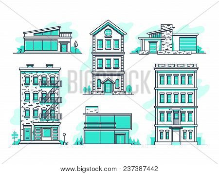 Contemporary Urban And Suburban Houses Line Icons Set. Real Estate Outline Symbols. Building Home Co