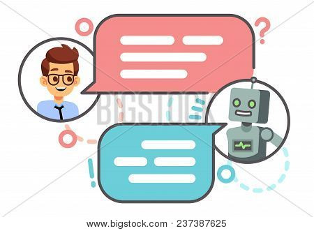 Human Conversation With Robot On Smartphone. Chatting With Bot, Chatbot Vector Concept. Robot Chat A