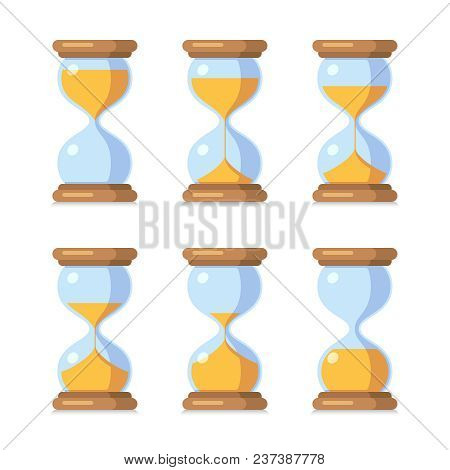 Cartoon Hourglass. Antique Sand Clock Sprite Sheet Animation. Vector Sand Timers Set. Clock And Time