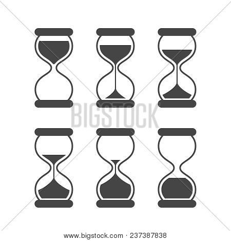 Sands Of Time, Hourglass Vector Isolated Symbols. Old Sand Clock Animated Vector Icons. Black Animat