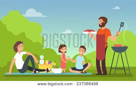 Family At Summer Picnic. People In Bbq Party Eating Food. Grill And Barbeque Outdoor Vector Concept.
