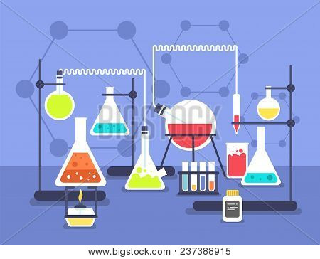 Chemistry Laboratory Experiment. Research Lab Science Technology. Chemical Laboratory Vector Flat Co