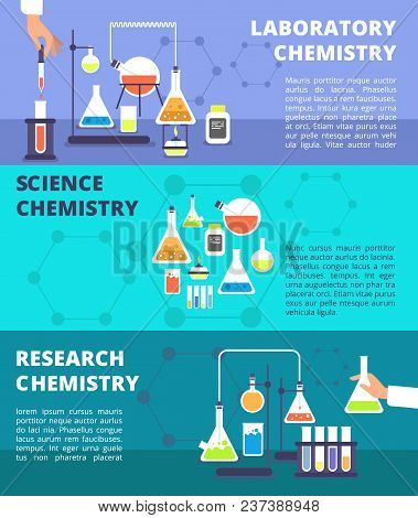 Chemistry Laboratory Research Lab And Science Technology, Biological Lab Experiment Vector Banners S