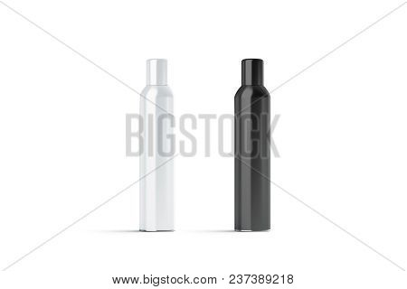 Blank white and black closed hairspray bottle mockup, 3d rendering. Empty deodorant mock up isolated. Clear stainless container template poster