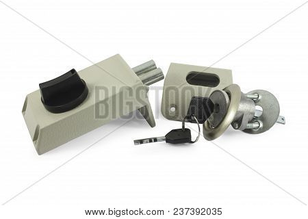 Mechanism Of The Door Lock With The Keys In The Disassembled Form Isolated On White