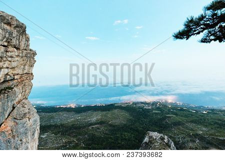 View At The City From A Mountain