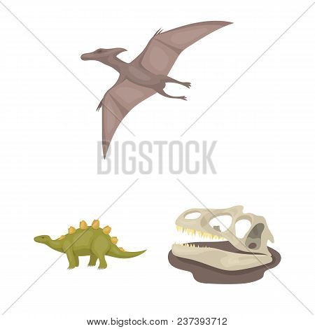 Different Dinosaurs Cartoon Icons In Set Collection For Design. Prehistoric Animal Vector Symbol Sto