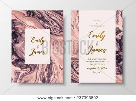 Vector Modern Design Wedding Invitation. Liquid Colors Greeting Cards With Golden Text. Save The Dat