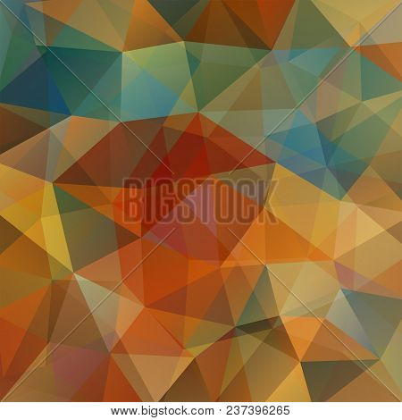 Geometric Pattern, Polygon Triangles Vector Background In Brown, Beige, Green, Orange Tones. Illustr