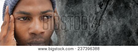 Close up of frustrated man and grey grunge transition